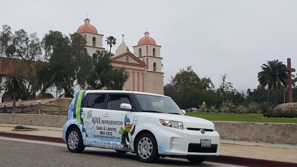 Sales Penguin Car at the Santa Barbara Mission