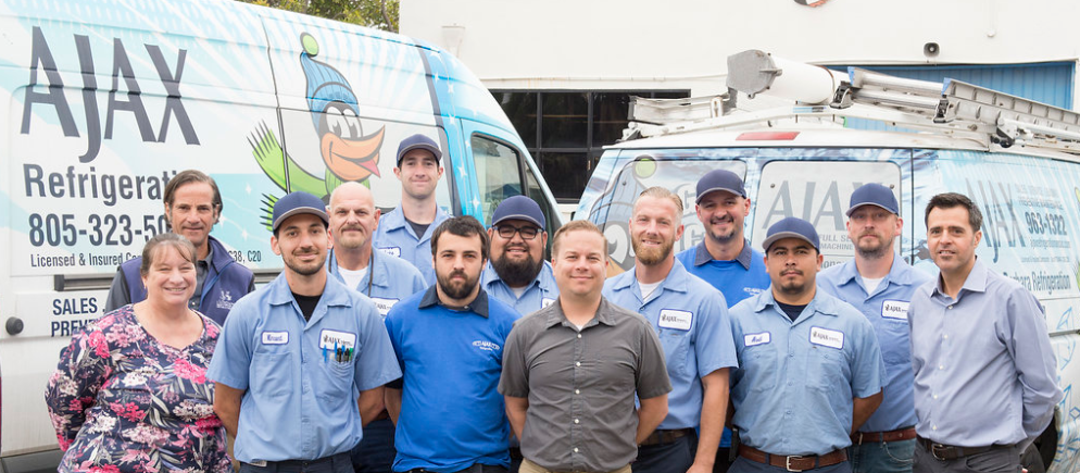 the ajax refrigeration crew with the ajax vans - providing commercial refrigeration service to Santa Barbara and Ventura
